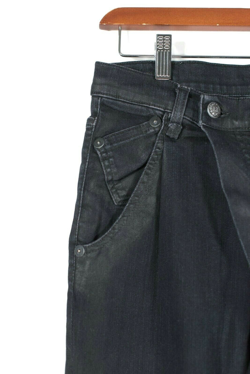 R13 Crossover Womens Size 26 S Black Jeans Pleated Slouchy Denim Dark Wash $395