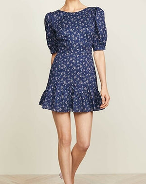 LoveShackFancy Women's Size XS Eventide Blue Lena Dress Floral Cotton Mini $395
