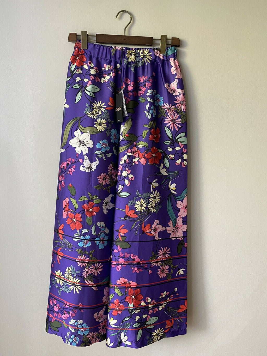 Chepe Italy Women's Large Purple Trousers Floral Satin Elastic Waist Pants NWT