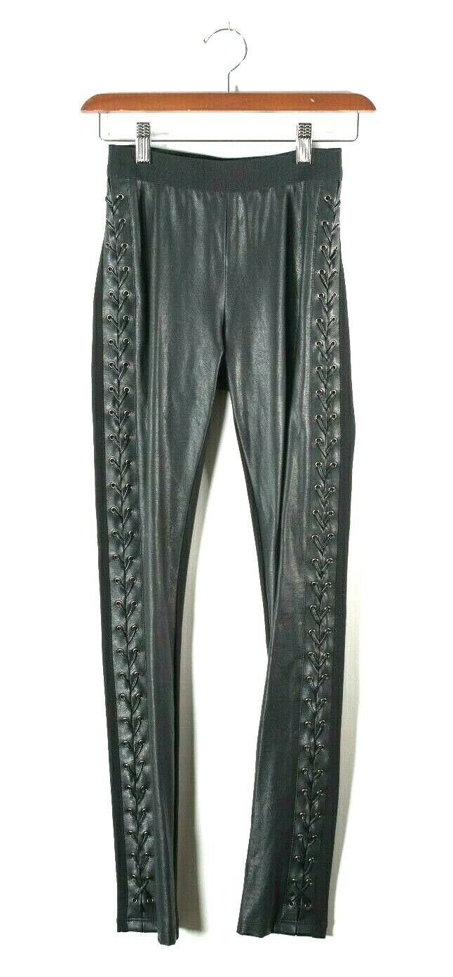 BCBG Womens Size XXS Black Leggings Lace Up Side Vegan Faux Leather Jaime Pants