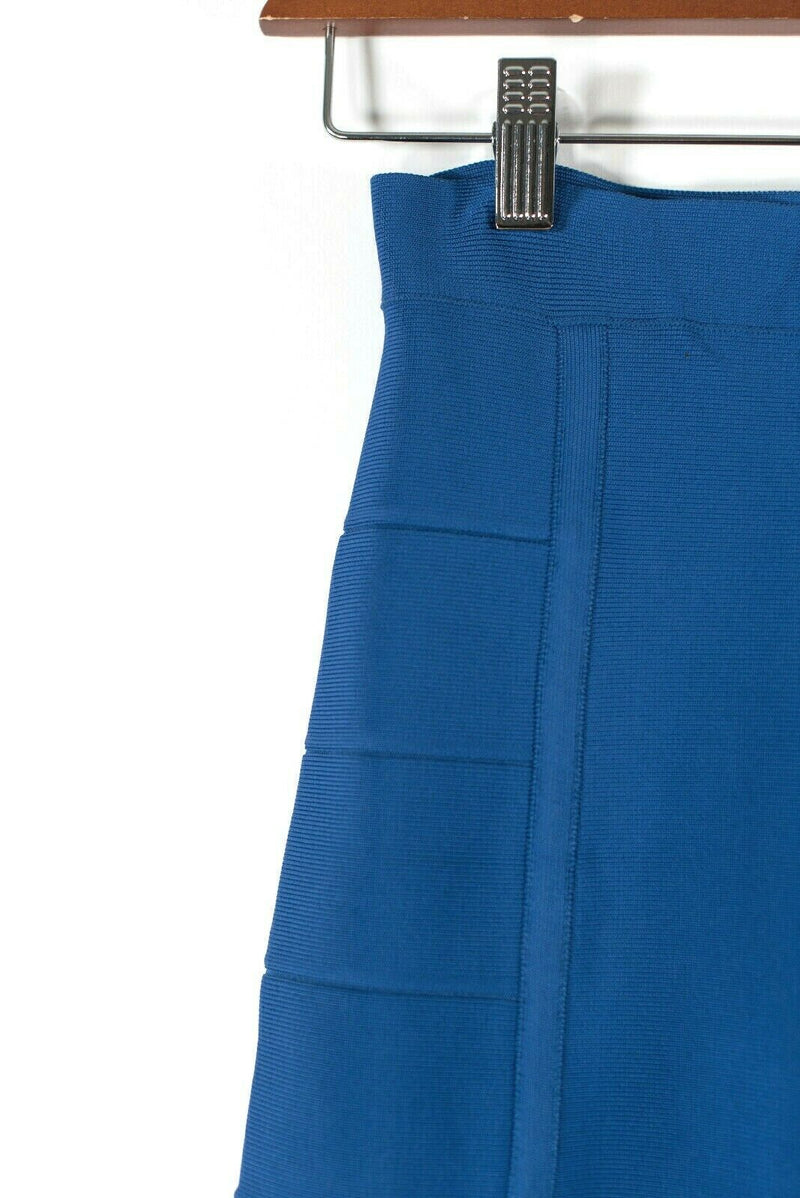 BCBG Womens XS Blue Mini Skirt Cathy Bandage Tight Knit Short Stretch Pencil
