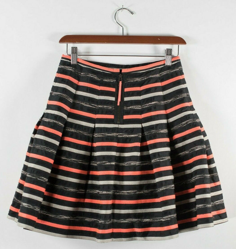 Anthropologie HD In Paris Womens 0 XS Orange Black Striped Pleated Mini Skirt