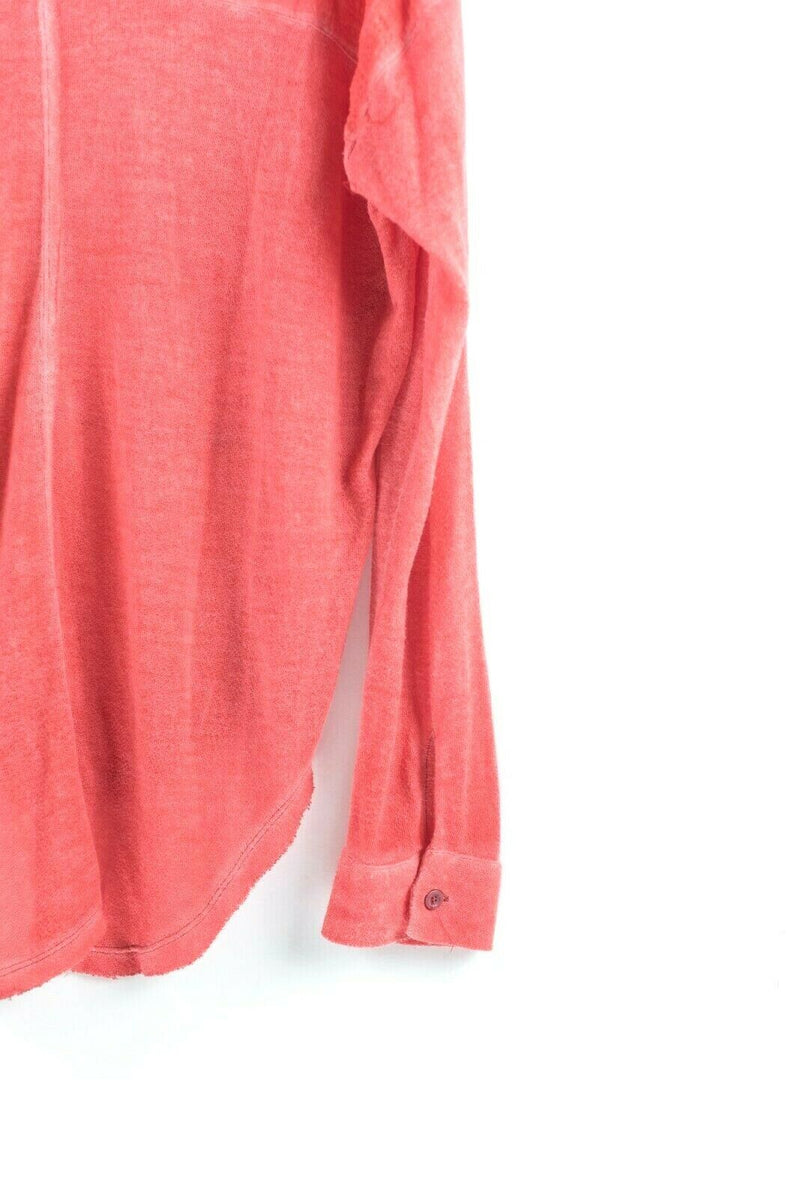 We The Free People Womens Medium Pink Button Down Blouse Long Sleeve Cotton Top