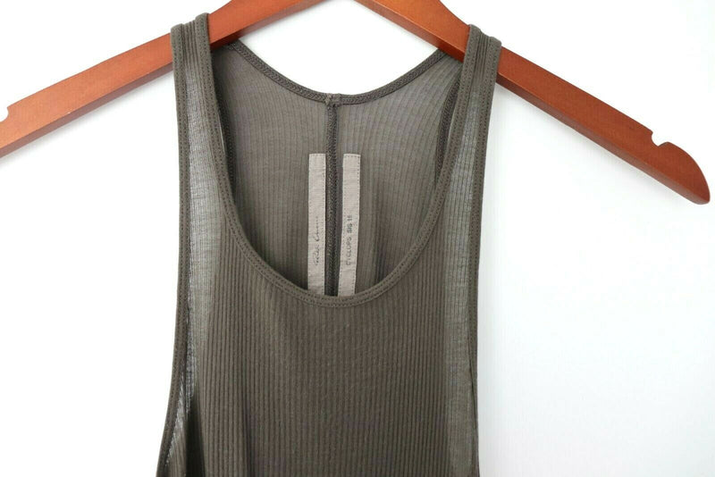 Rick Owens Womens 8 Olive Sleeveless Tank Top Solid Shirt Tunic SS 16 Cyclops