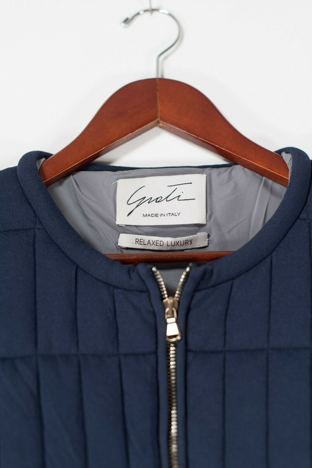 Giorgio Grati Women's Small Blue Jacket Designer Quilted Jersey Knit Full Zip