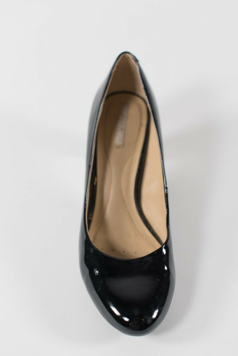 Geox Women's Size 6 Black Pumps Patent Leather Slip On High Heel Round Toe Shoes