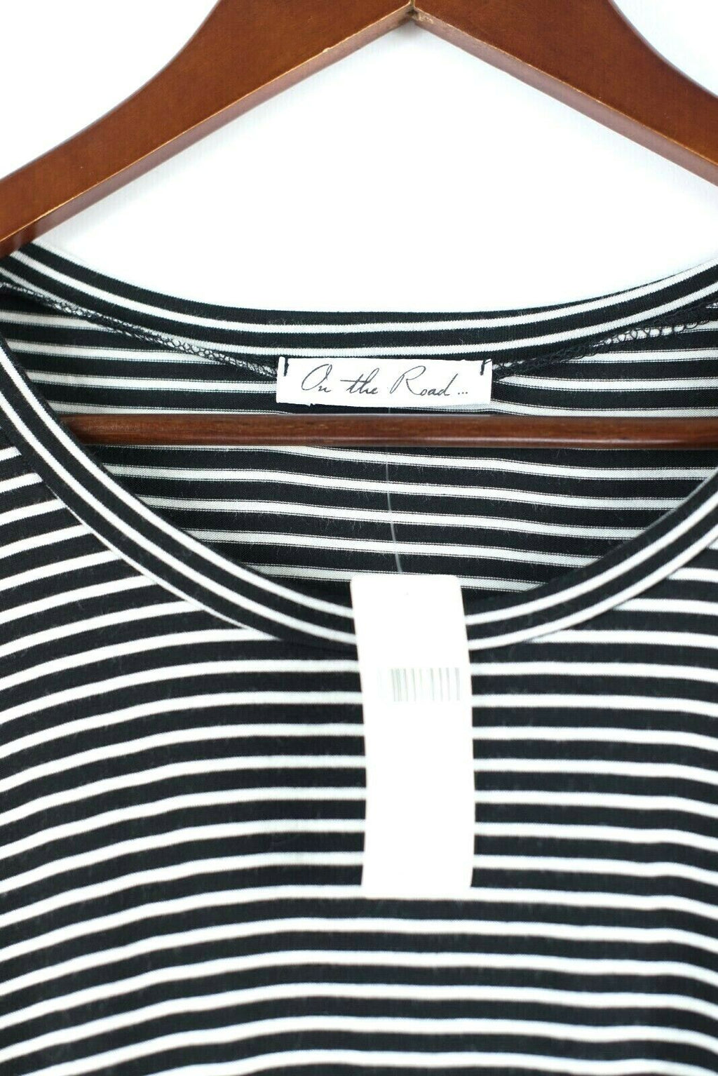 Anthropologie On The Road Womens Medium Black Tee Shirt Striped Pullover Top NWT