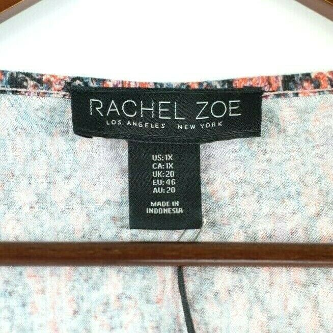 Rachel Zoe Womens Size 1 XL Orange Pullover Top Graphic Jersey Blouse Shirt NWT