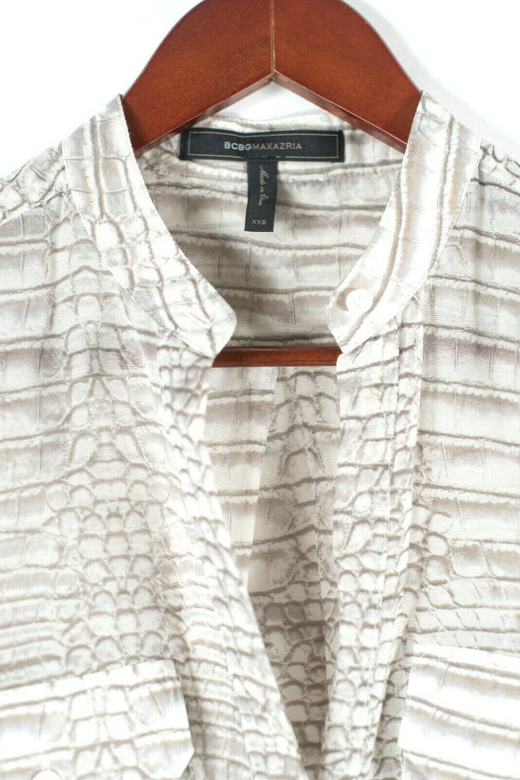 BCBG Womens XXS Taupe Brown Ivory Blouse Python Print Button Front Cotton Top
