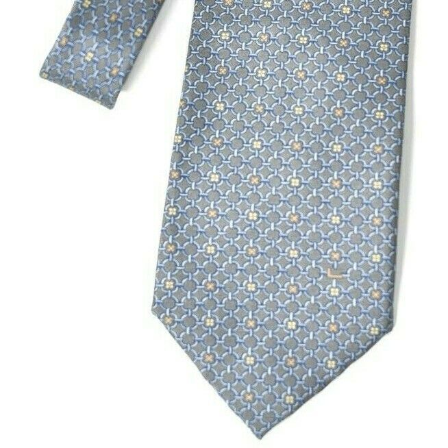 Lancel Paris Mens Classic Blue Grey Neck Tie Chain Link Pattern Gold Flower Silk
