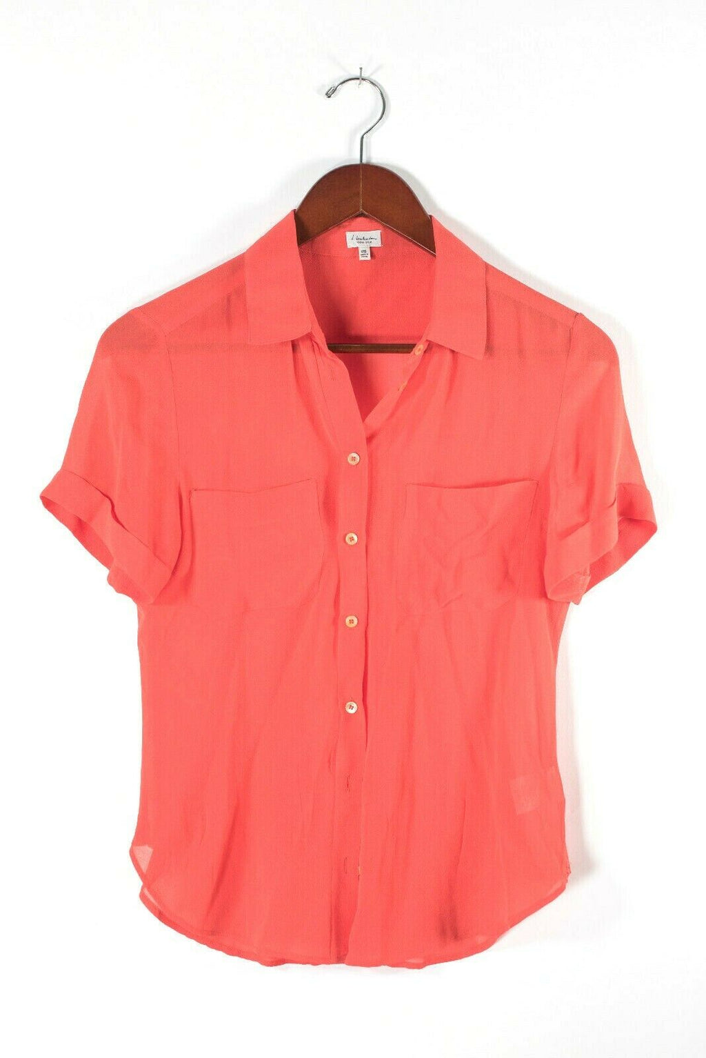 Aritzia T. Babaton Womens XXS Red Blouse Short Sleeve Shirt Button Down Silk Top