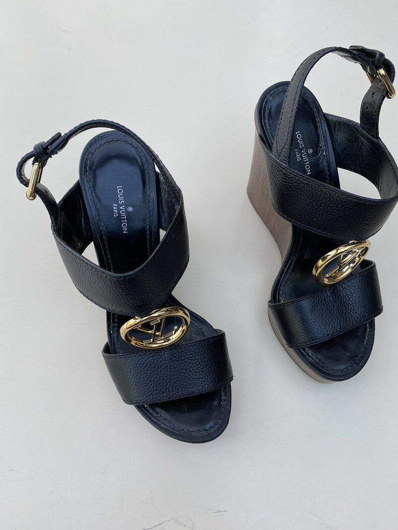 Louis Vuitton Size 36.5 Black Vedette Sandals Wood Platform Logo Open Toe Wedge