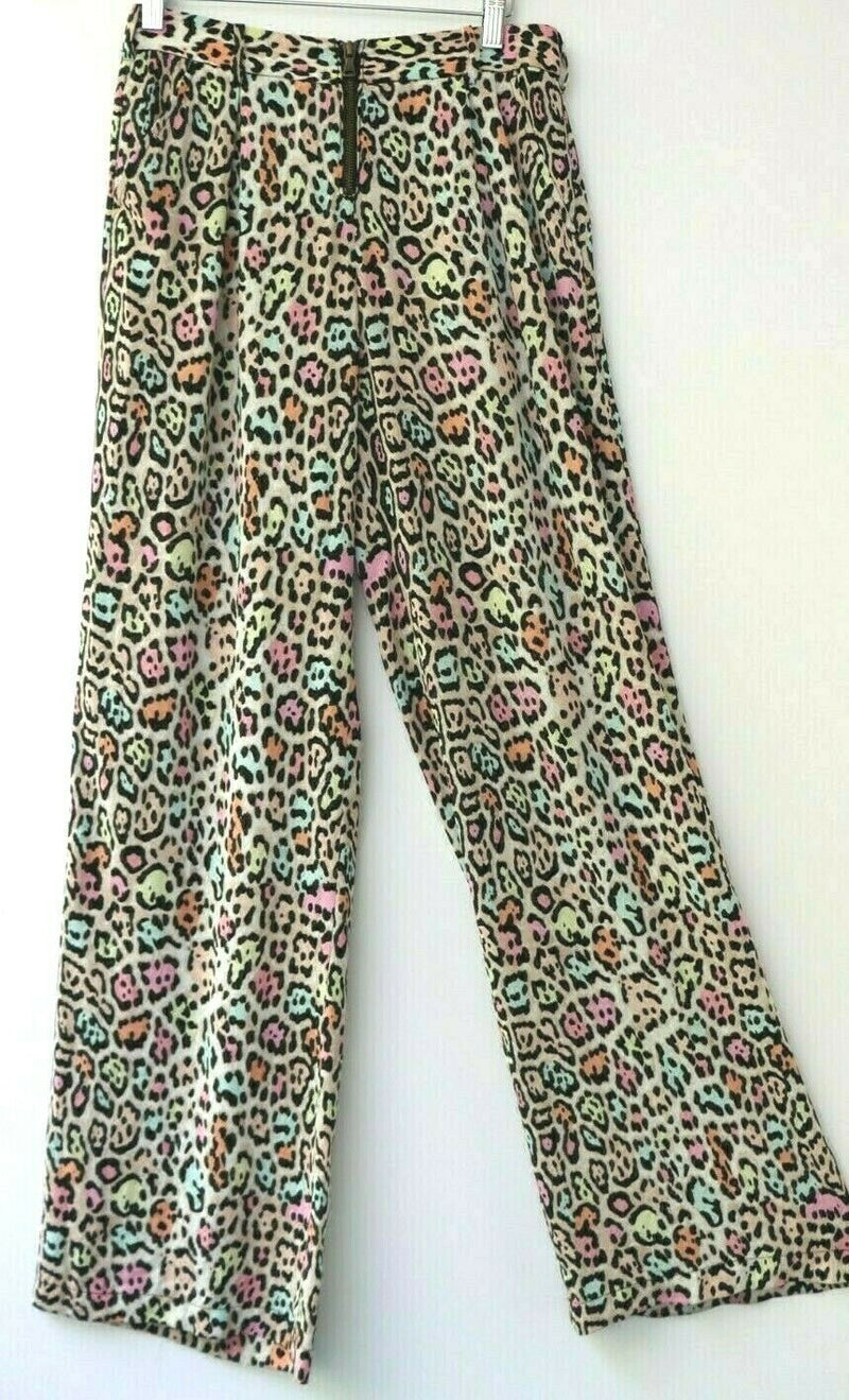BCBC Maxazria Women's Size XS Rainbow Color Wide Leg Pants Leopard Print Zipper