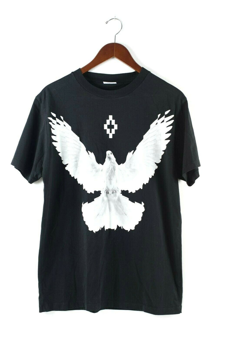 Marcelo Burlon Size Medium Black T-shirt White Dove Graphic Print Cotton
