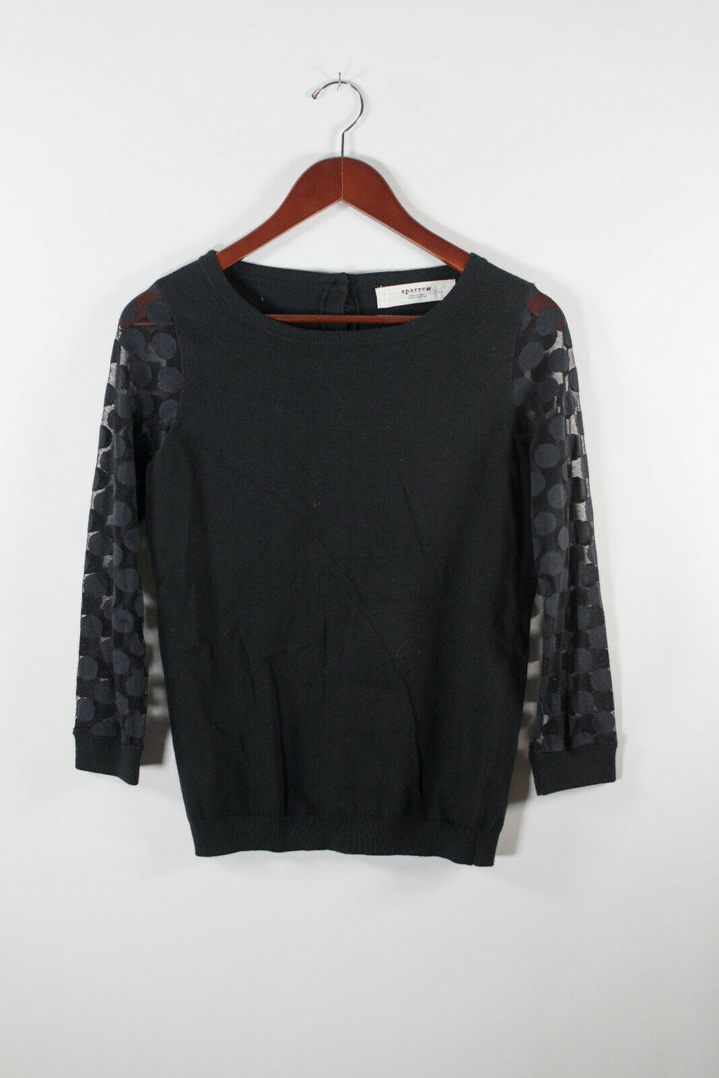 Anthropologie Sparrow Womens Small Black Blue Sweater Knit Polka Dot Sleeve Top