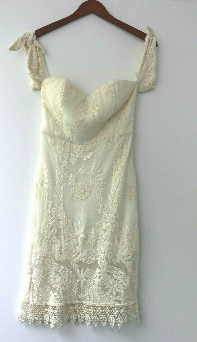 Line And Dot Women's Size S Lace Off Shoulder Ivory Dress