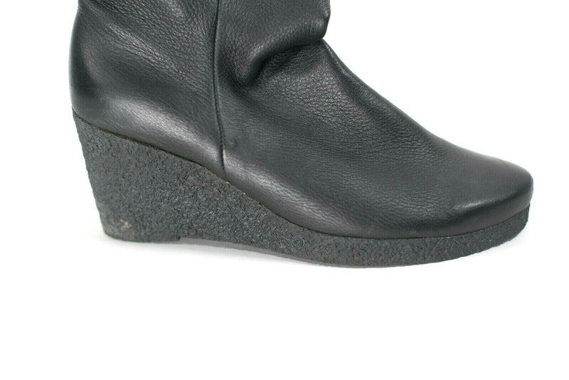 Arche Womens Black Size 10.5 Ankle Boots Leather Pull On Short Wedge Heel $435