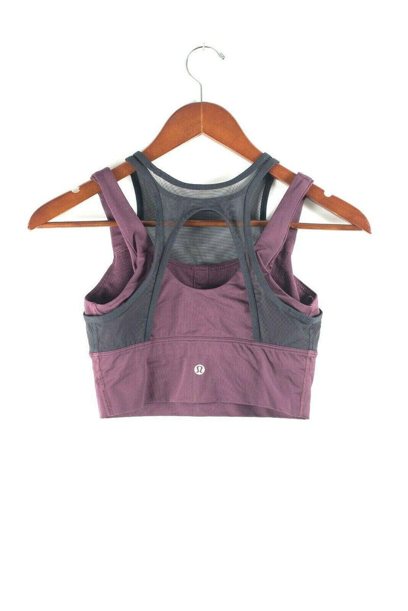 Lululemon Womens Size 4 Burgundy Black Sports Bra Crop Top Athletic Tank Shirt