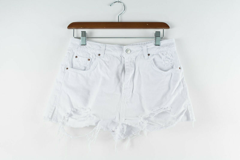 Topshop Womens Size 8 UK 12 White Shorts Denim High Waisted Distressed Mini Mom