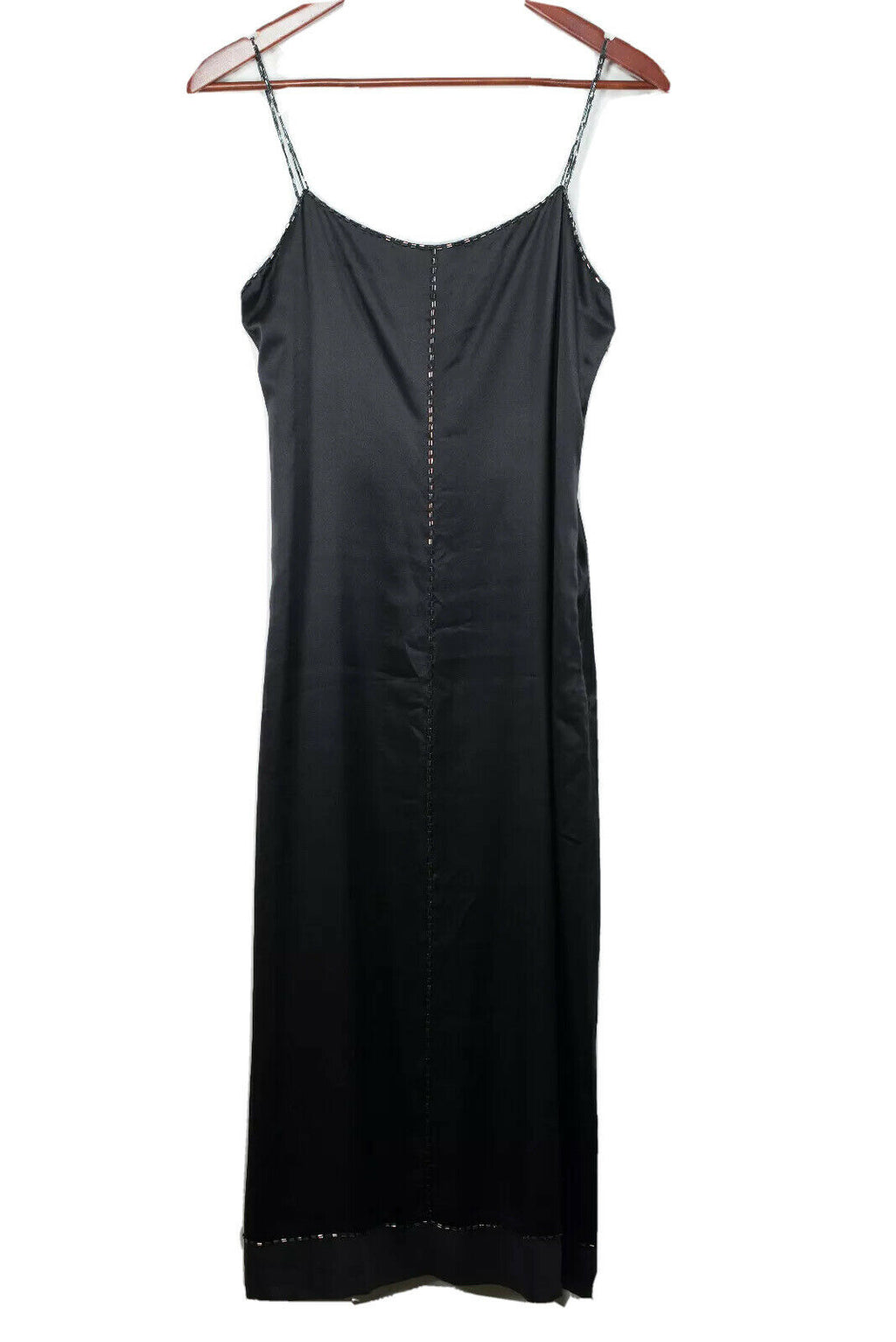 Armani Exchange Size 6 Black Midi Beaded Silk Slip Dress