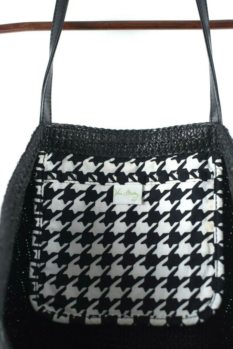 Vera Bradley Womens Black Purse Woven Palm Tree Houndstooth Print Tote Beach Bag