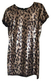 BCBG Max Azria Womens Size XXS Gold Black Dress Sequin Mini Animal Leopard Party