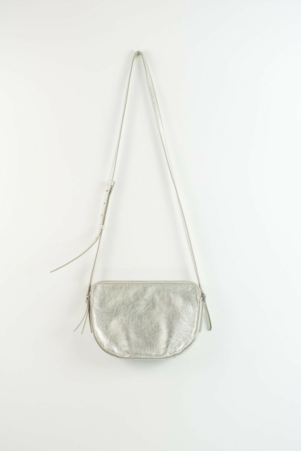 Banana Republic Womens Silver Grey Cross Body Purse Leather Hand Bag Metallic