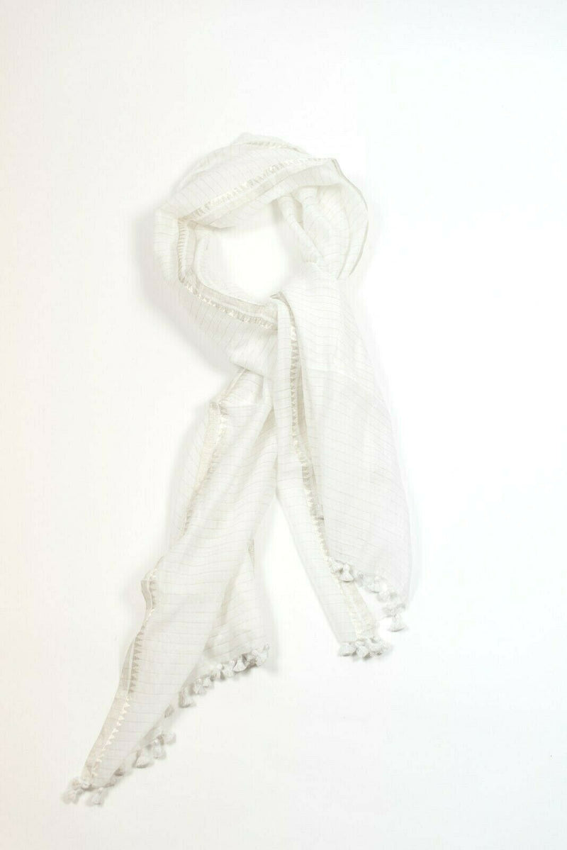 Eileen Fisher Womens White Silver Scarf Cotton Blend Metallic Stripe Tassel