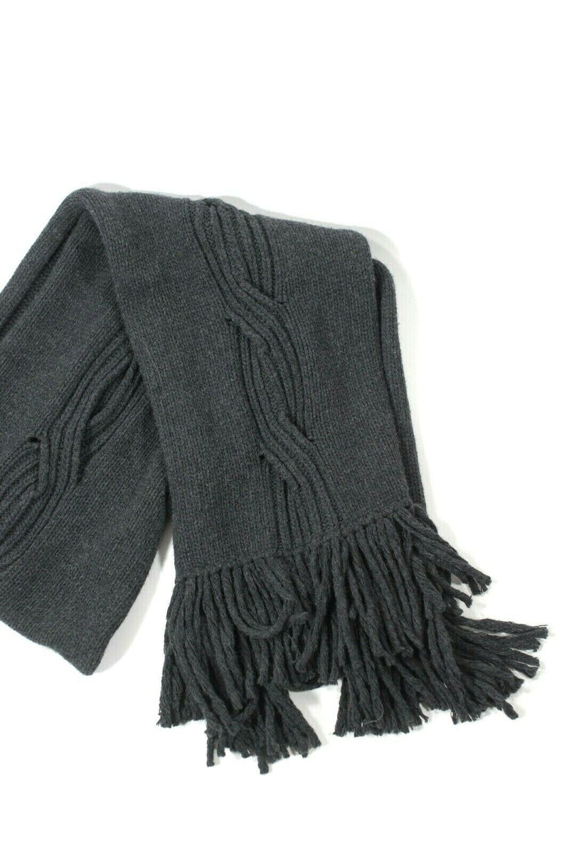 Maxmara Grey Cable Knit Fringe Scarf