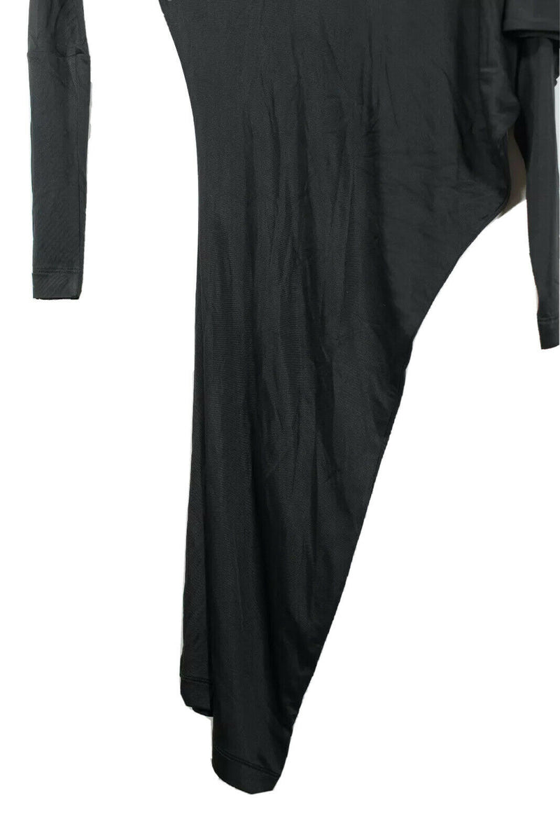 BCBG Max Azria Womens Size XXS Black Dress Asymmetrical Long Sleeve Nylon Midi