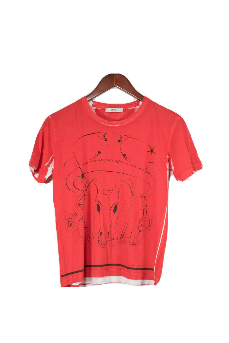 Prada Size 40 Small Red Zodiac Graphic Tee Shirt
