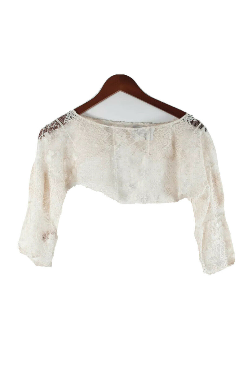 Free People Womens Small Ivory Cream Lace Shawl Crop Top Solid Mesh Bolero Shirt