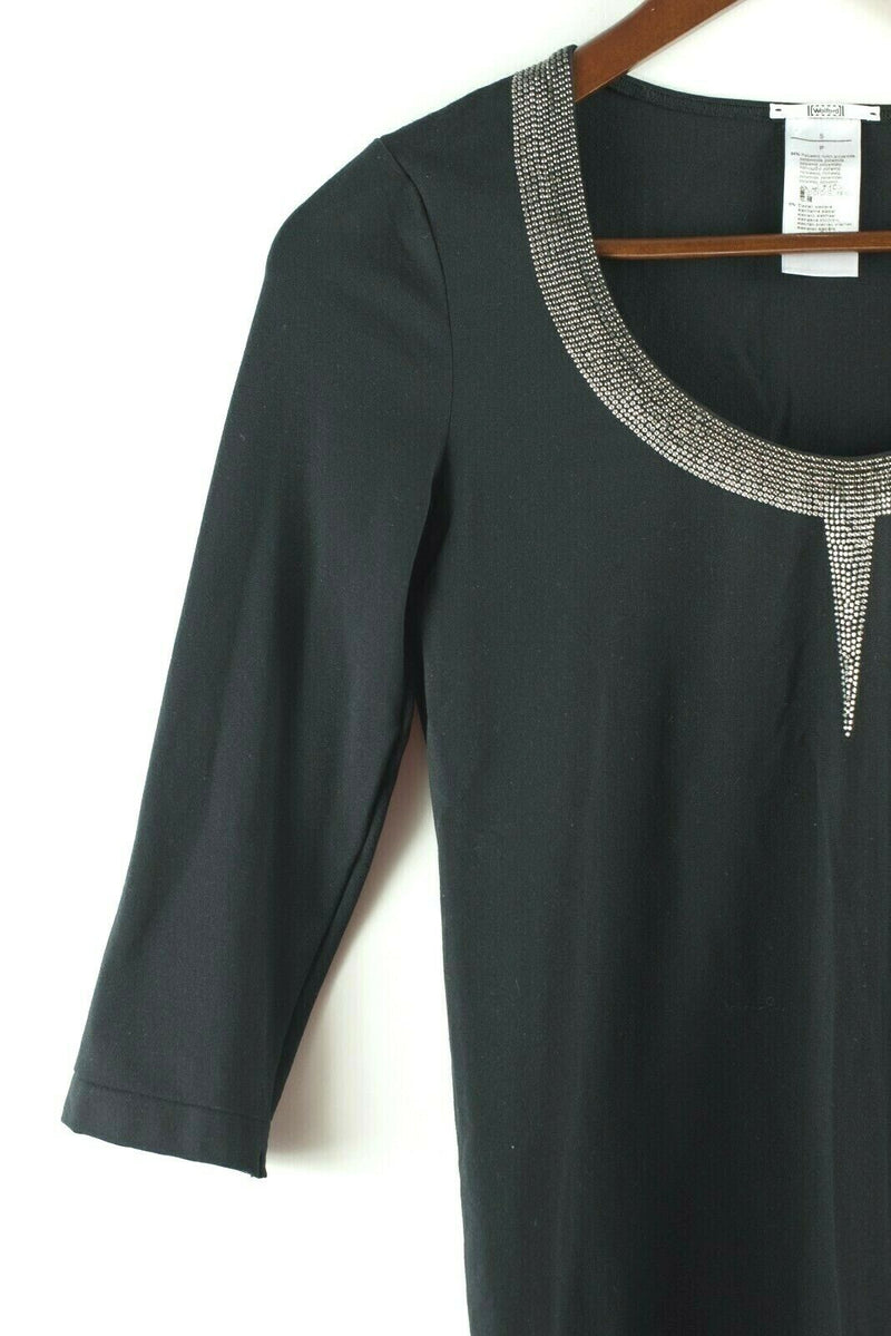 Wolford Womens Small Black Silver Top Studded Sequin Long Sleeve Pullover Shirt