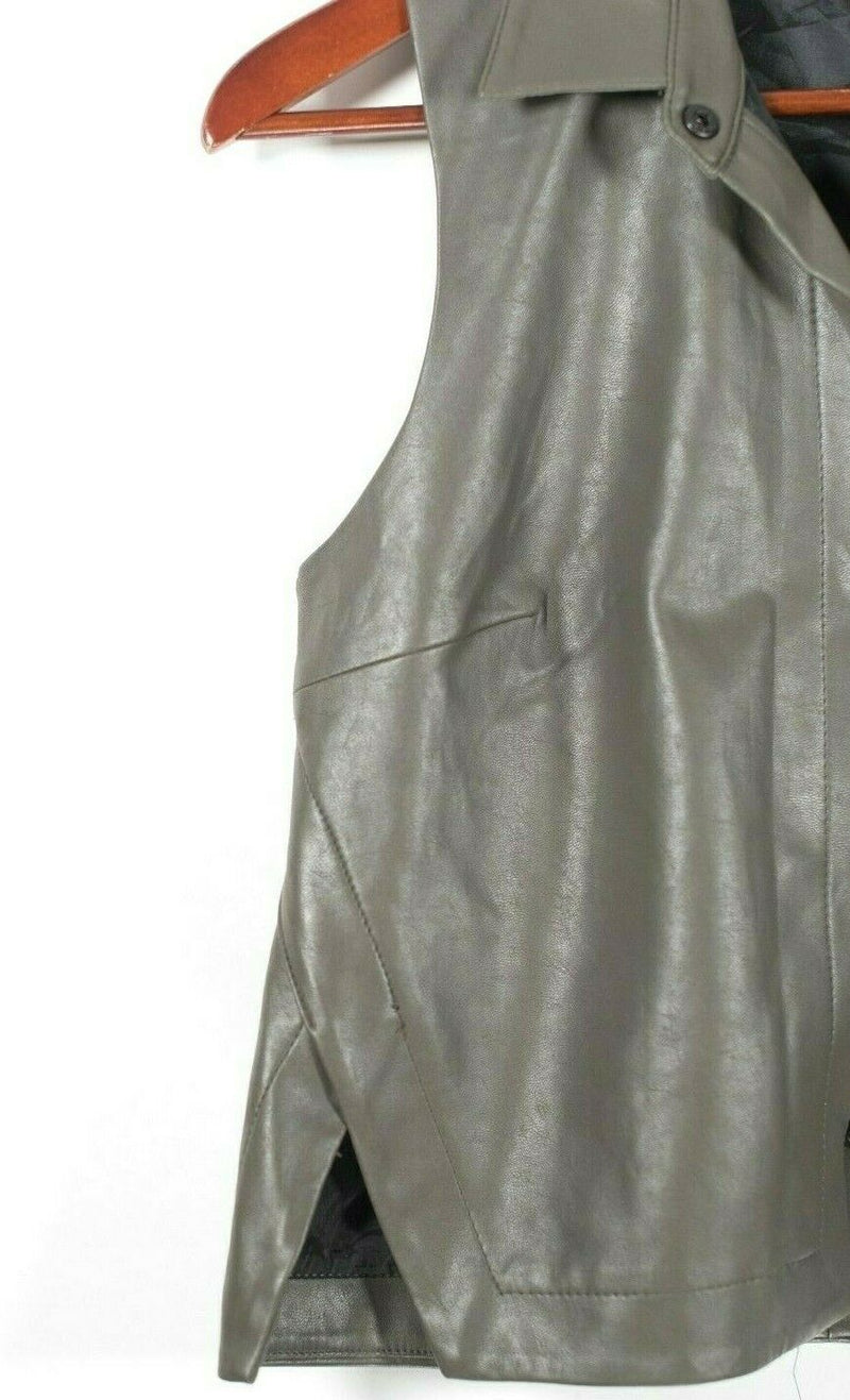 Bailey 44 Womens Size Small Green Blouse Sleeveless Vegan Leather Snap Vest Top