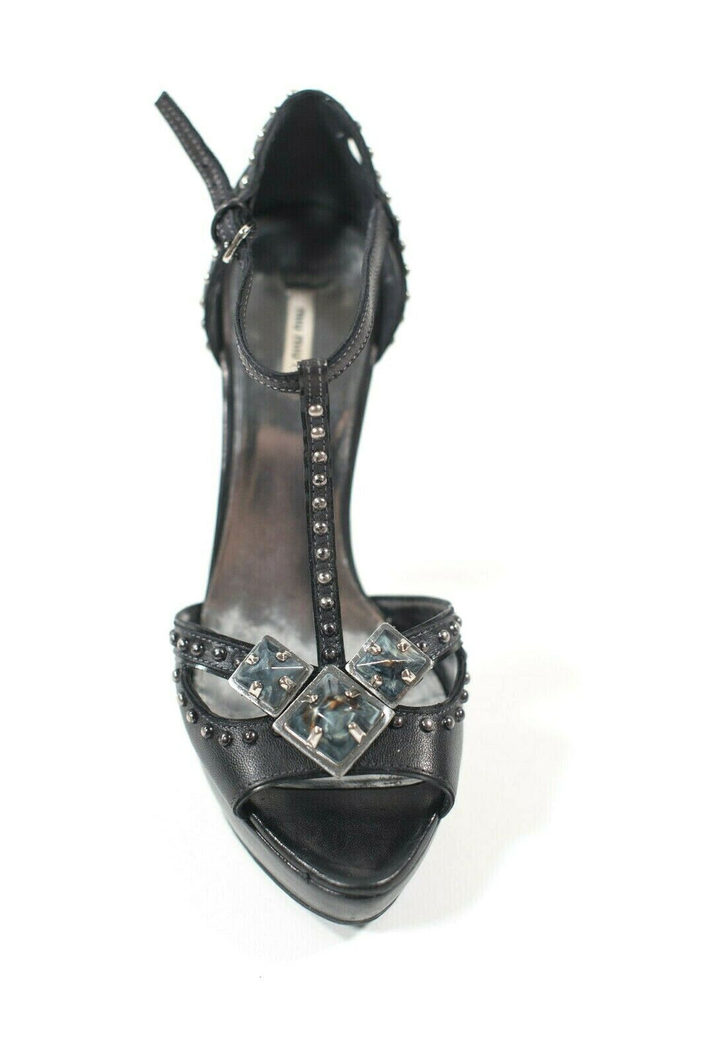 Miu Miu Womens Size 36.5 Black Pumps Beaded Platform Blue Stone Sandal Heels