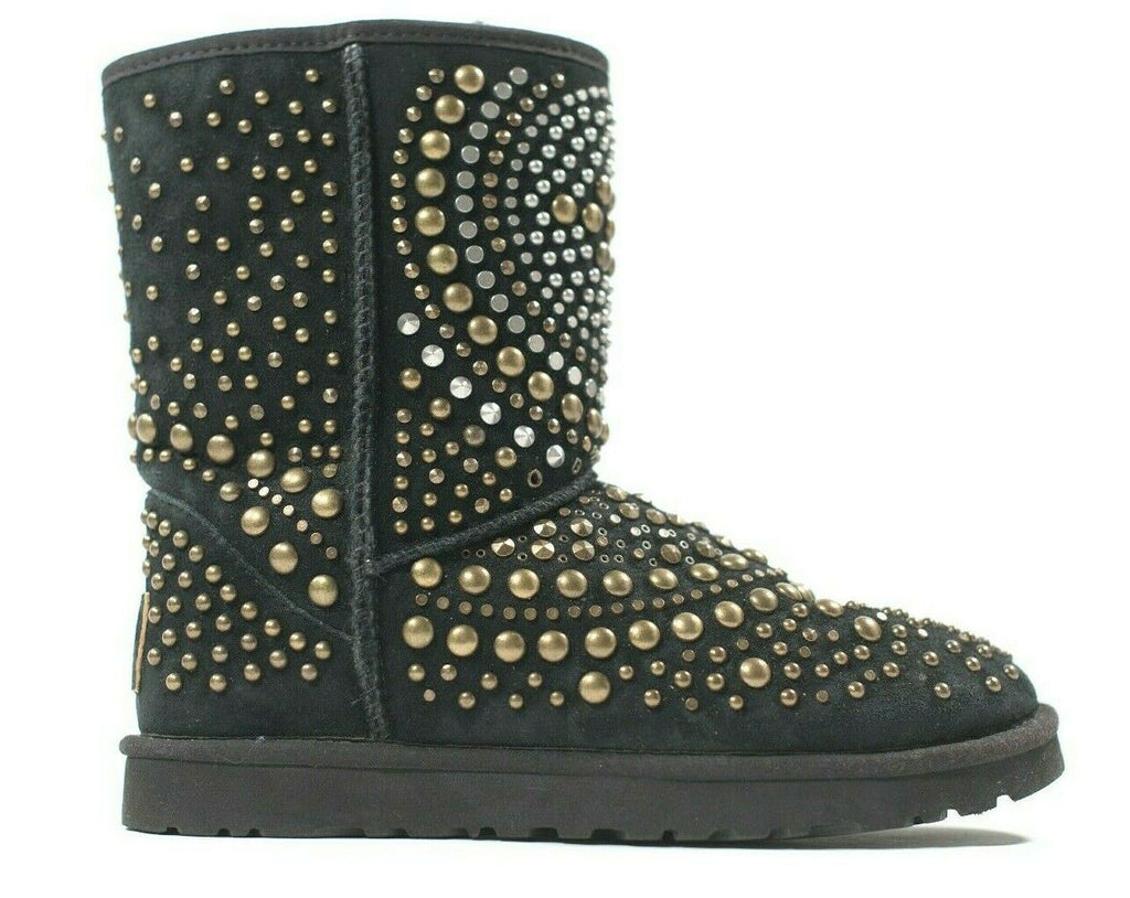 UGG & Jimmy Choo Womens Size 8 Black Boots Suede Mandah Studded Limited Edition
