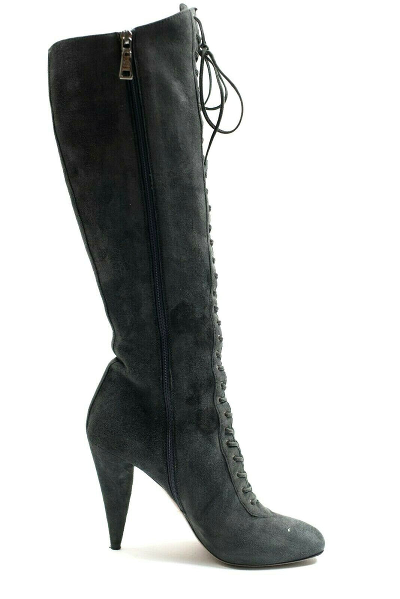 Prada Womens Size 38 Grey Boots Suede Leather Tall Lace up Knee High Spike Heel