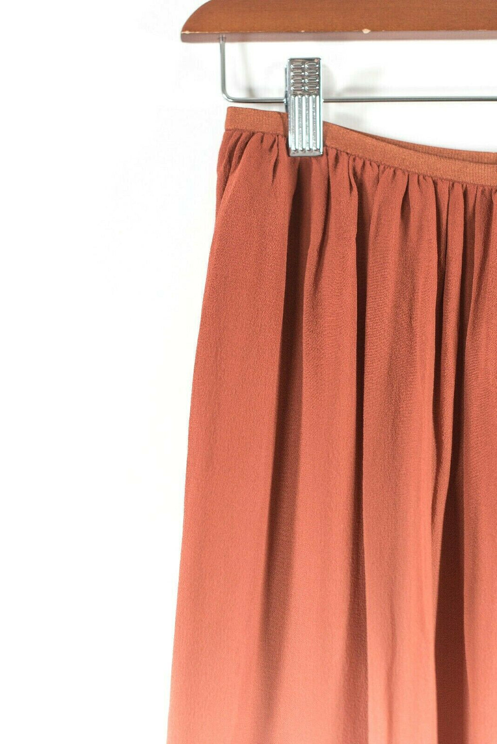Aritzia T. Babaton Womens XXS Orange Skirt Ombre Silk Long Elastic Waist Midi