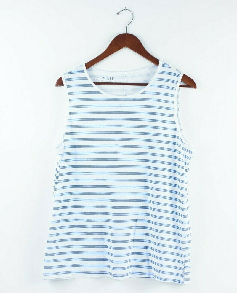Anthropologie Imrie Womens Large Blue White Tank Top Organic Cotton Pullover Tee