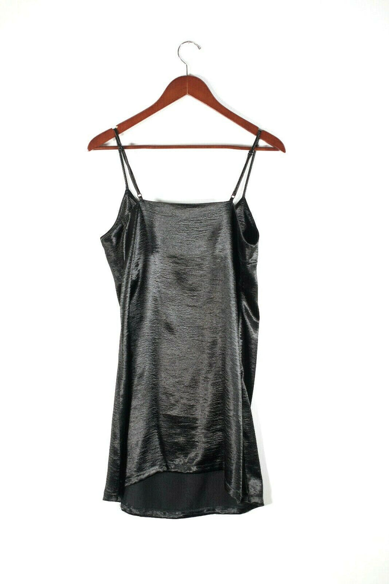 Silence + Noise Urban Outfitters Womens Medium Black Slip Dress Satin Shiny Mini