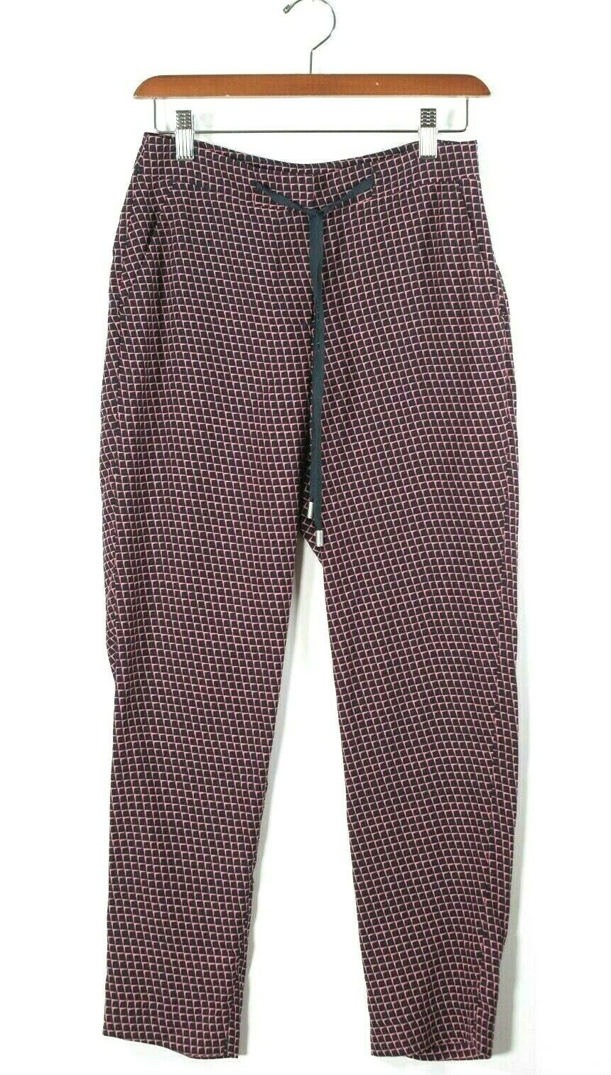 Armani Exchange Womens 0 XS Blue Pink Pants Grid Graphic Drawstring Trousers