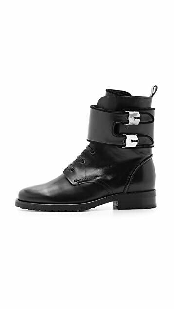 Iro Womens 38 Black Combat Boots Nels Calf Leather Wide Strap Buckle Side Zip