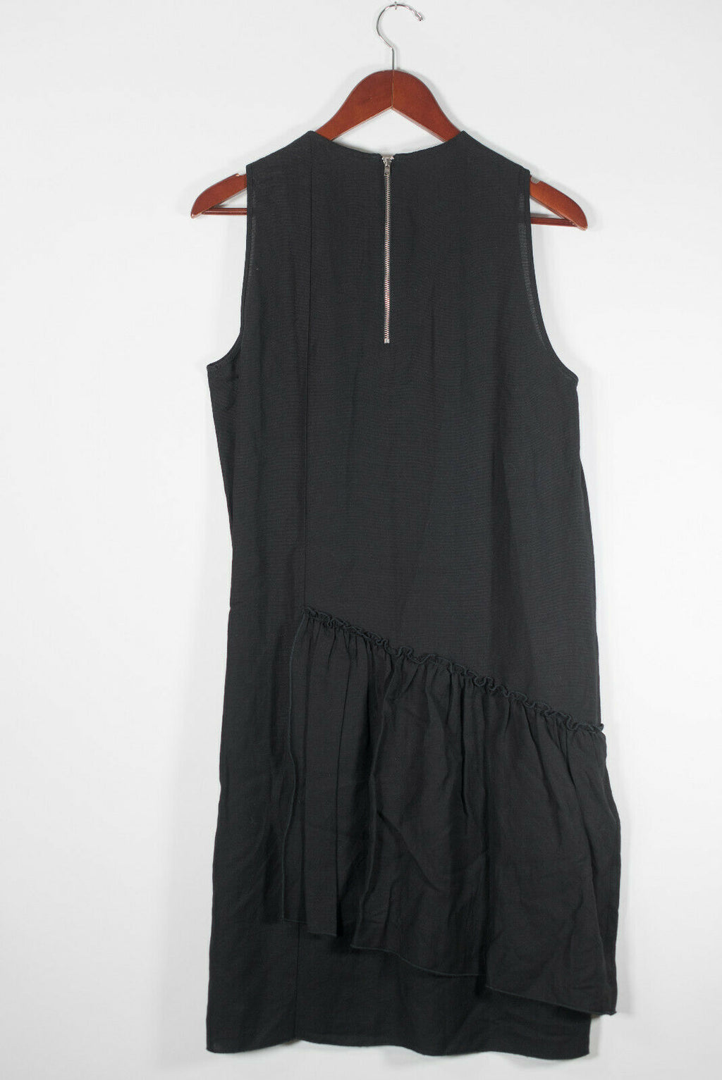 Hache Womens 44 Medium Black Dress Sleeveless Linen Blend Asymmetrical Midi $595
