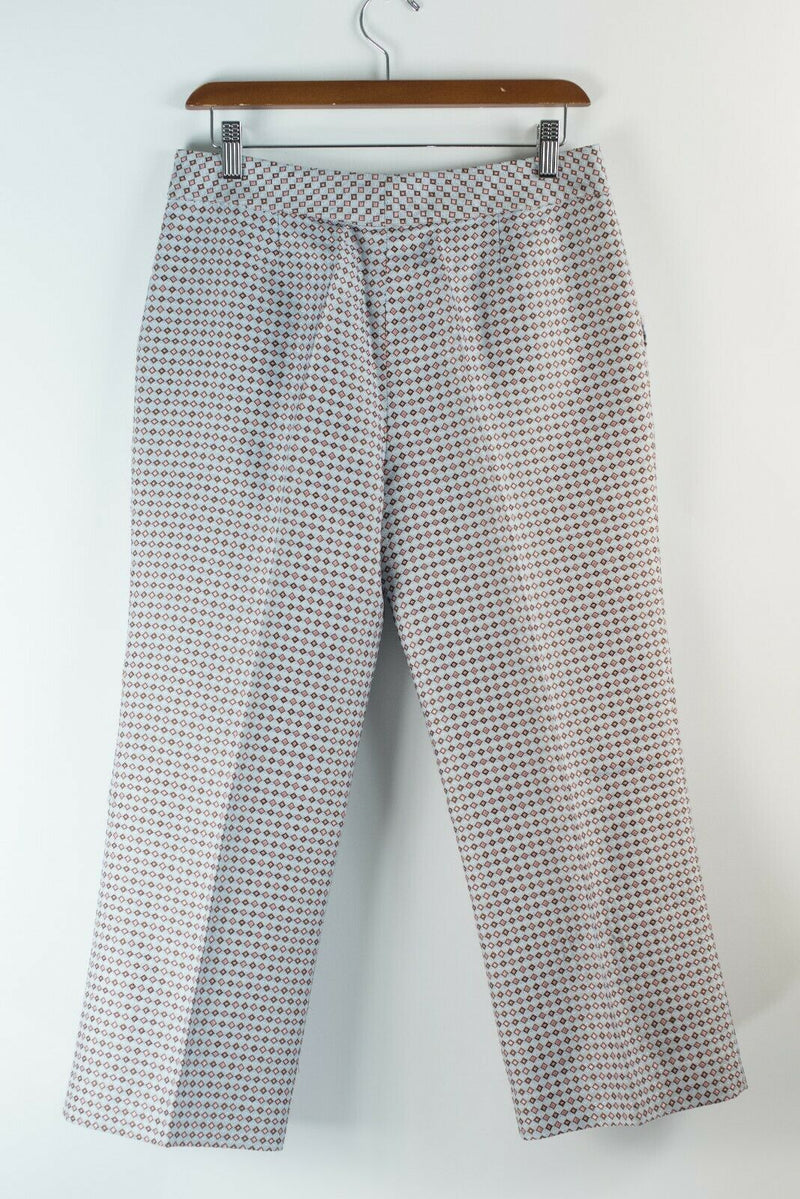 Missoni Womens Size 42 S M Silver Pink Trousers Printed Silk Tapered Pants  $795