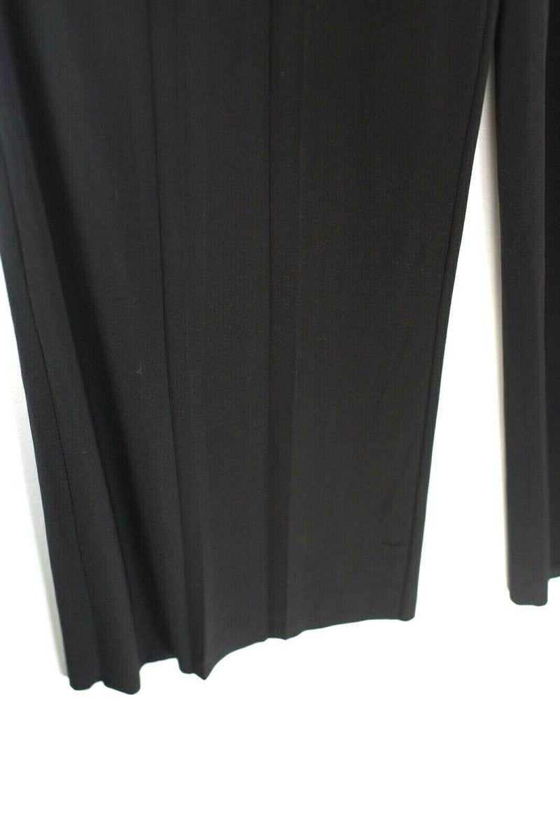 Norma Kamali Size XS Black Trousers Jersey Wide Leg Front High Waist Pleat Pants