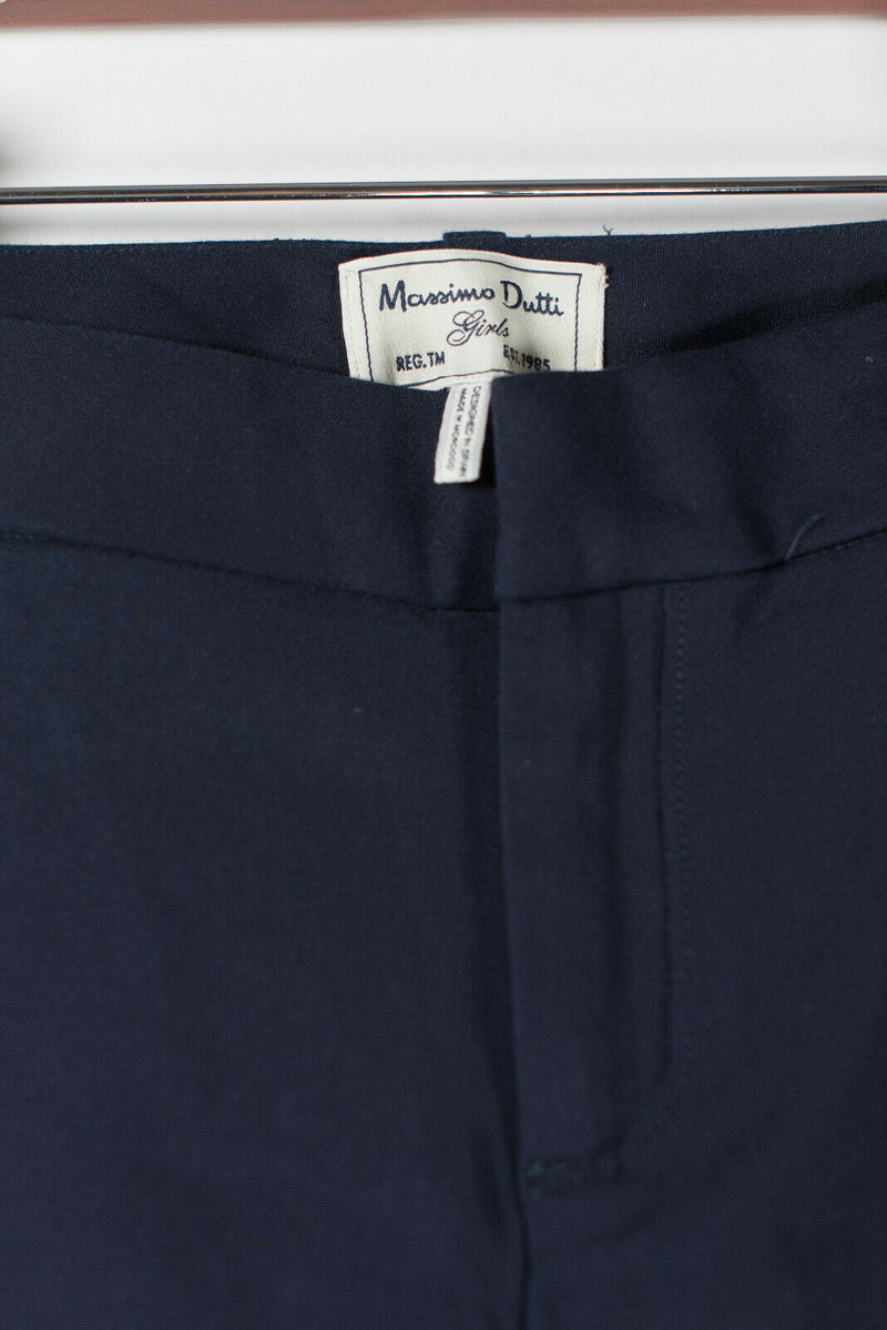 Massimo Dutti Girls Size 4 Navy Blue Trousers Leather Zip Pockets Skinny Pants