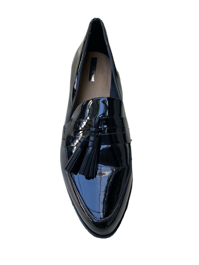 Tahari Womens Size 9 Black Tina Loafers Patent Leather Tassel Flat Dress Shoes