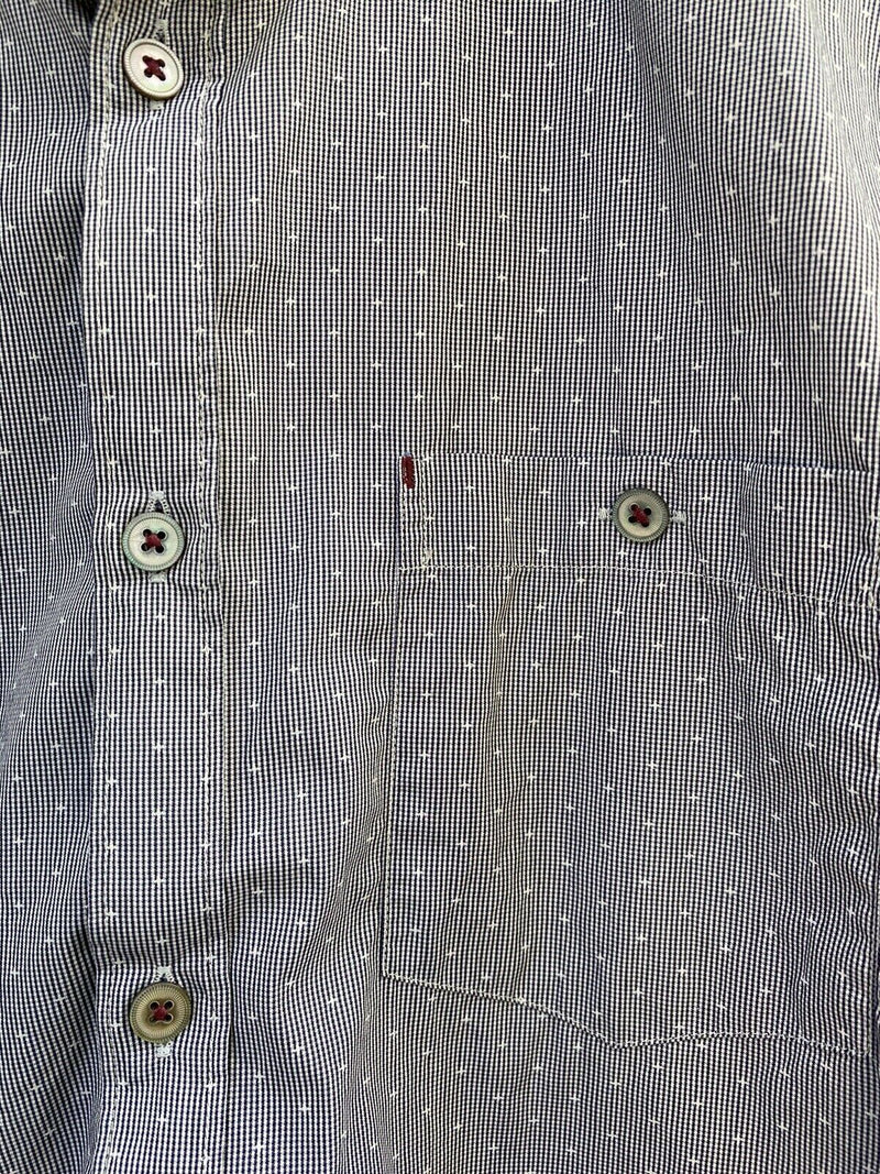 Ted Baker Mens Size 3 Medium Blue Button Down Shirt With Pockets Cotton Blend