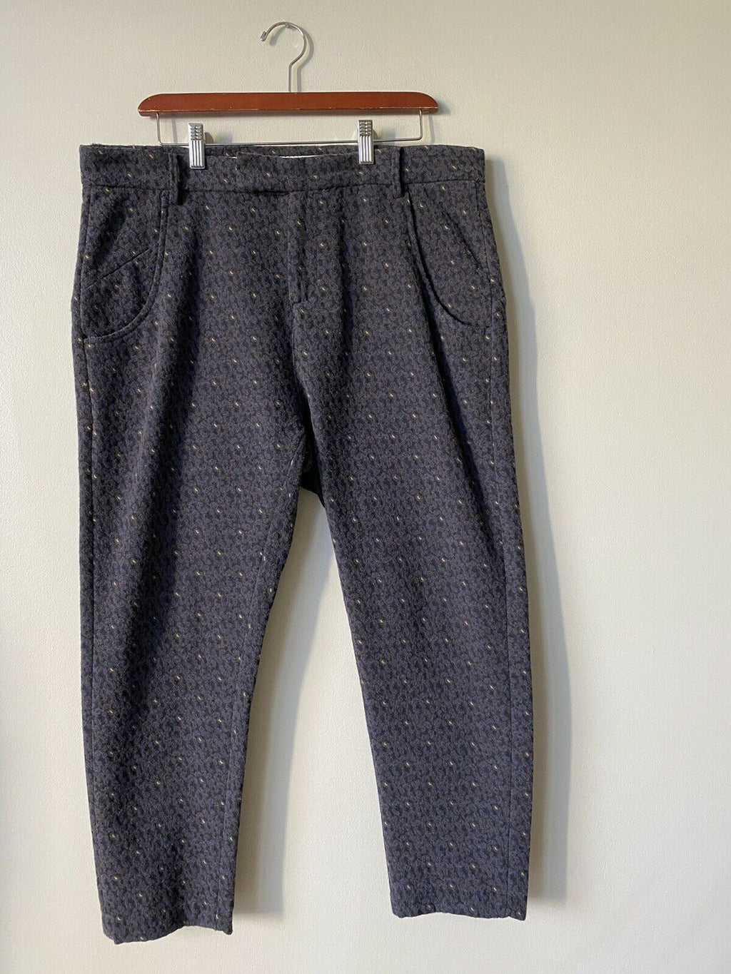 November Women's Size 31 Navy Blue Trousers Brocade Wool Slim Fit Mairi Pants