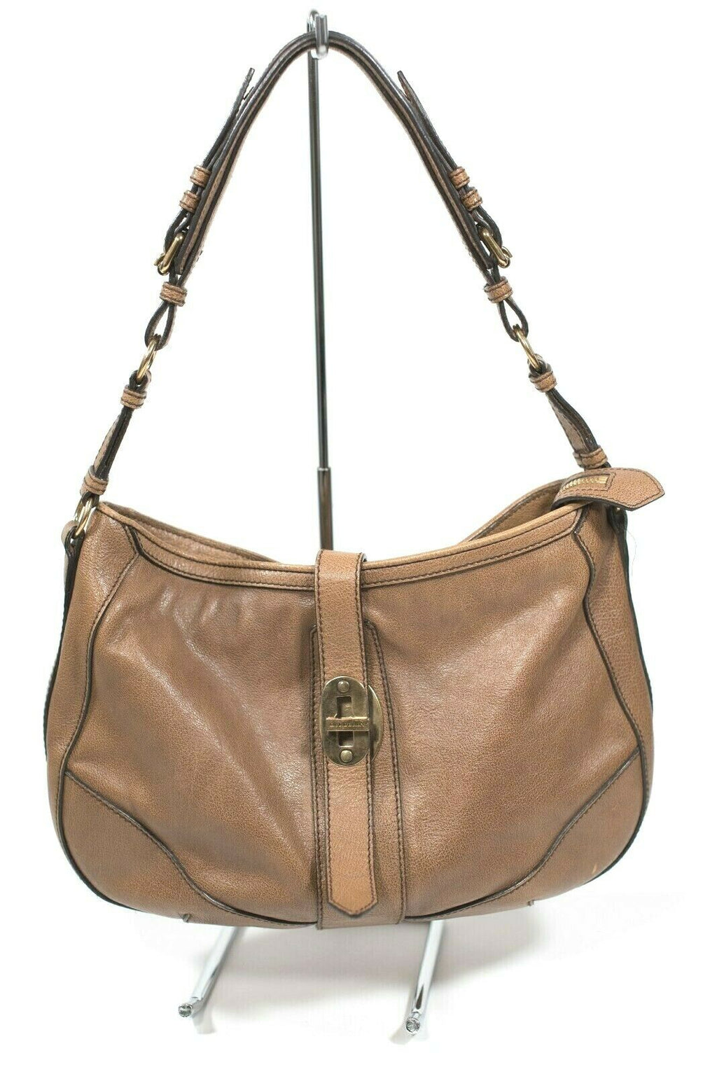 Burberry Weatherby Womens Brown Buffalo Leather Hobo Purse Handbag Shoulder Bag